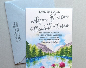 Spring Mountains Save The Date Sample, A2, Watercolor Lake Wedding Save the Dates, Rustic Save the Date Cards