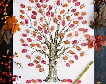 Autumn wedding thumbprint tree with handlettered calligraphy