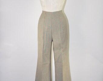 60s houndstooth pants / vintage wide leg pants / high waist tweed pants