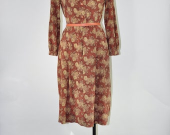 60s rust brown dress / 1970s flower print dress / vintage brown day dress