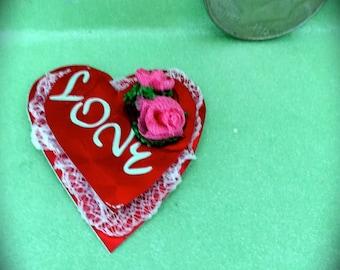 VALENTINE HEART Love w Hand Made Silk Roses n Lace or Hand made Silk Roses n Silk Bow n Lace