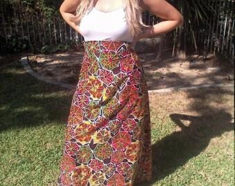 Maxi skirt,Hippie, Psychedelic ,Skirt,Orange Brown Green 1970,70s
