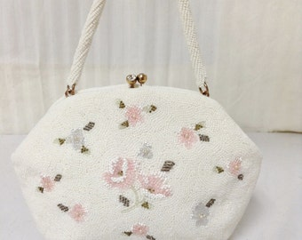 Free Ship glass Beaded Purse White Pink Gray Flowers Made in Japan Handbag Kiss Lock Crystal Closure