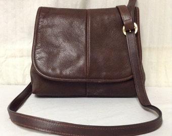 Free Ship Leather and Co. Purse Brown Shoulder Bag Liz Claiborne