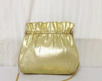 Gold Lemme Purse,Crystal clasp, Shoulder Bag,formal