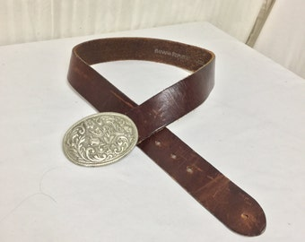 """Free Ship Banana Republic Leather Belt 30"""" With Oval Belt Buckle"""