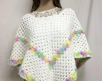 Poncho top,knit poncho,white,pastels, fuzzy trim, small,medium