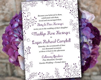 "Printable Wedding Invitation Template - Garden Wedding Invitation - DIY Wedding Template ""Whimsy"" - Eggplant Wedding Invitation Download"