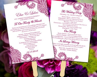 lace wedding program fan template wine wedding program printable order of service luna