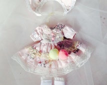 BJD MSD 1/4 baby pink duck pattern and white lolita lace dress set with with lolita hat socks and chain