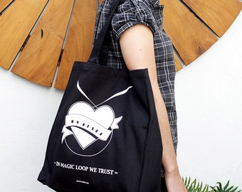 Magic Loop Shopping Bag / Knitting bag / Screen printed black shopping bag
