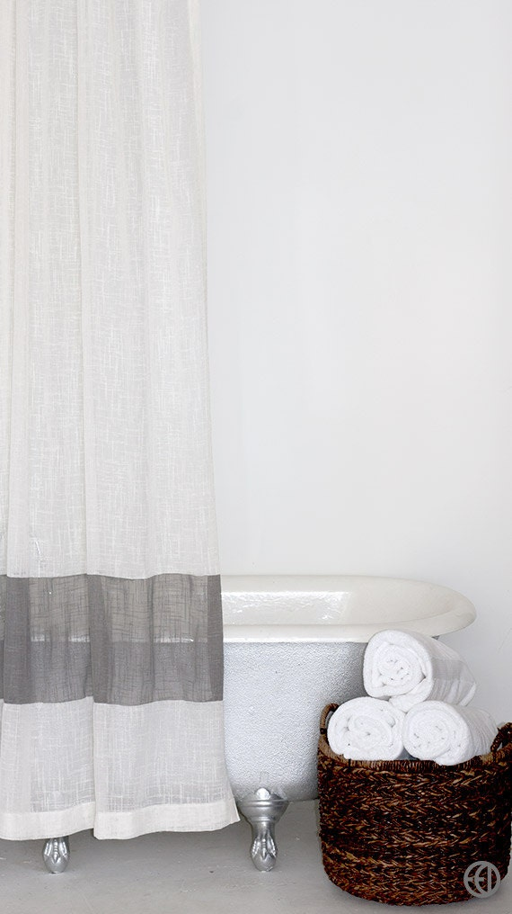 Extra Long Fabric Shower Curtain In White Or Cream With Grey