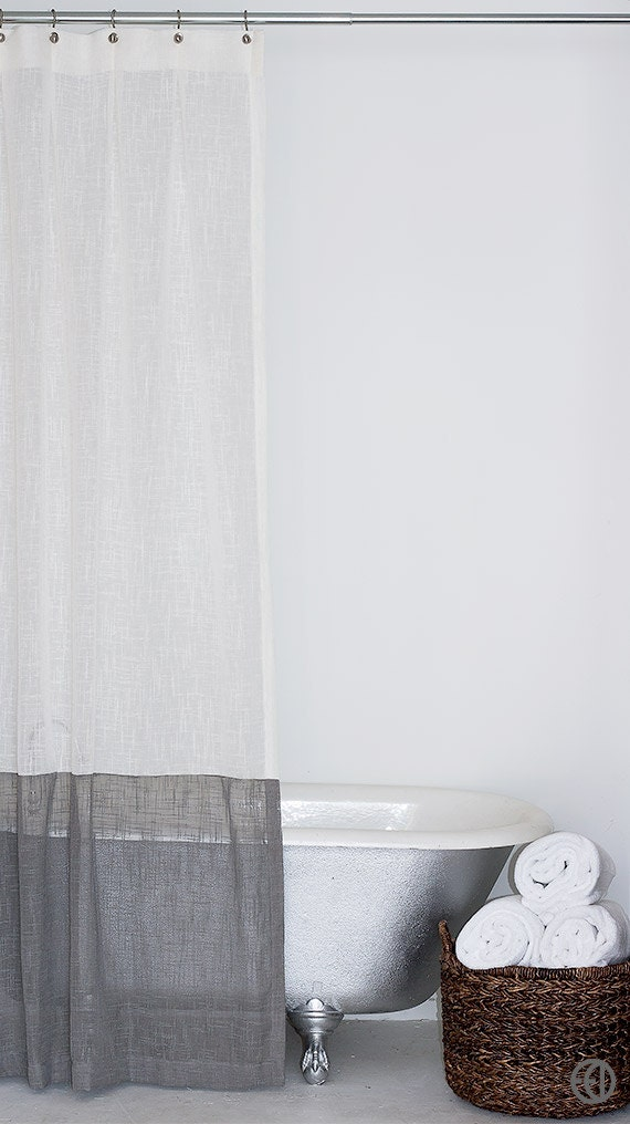 Extra Long Fabric Shower Curtain In White Or Cream With Large
