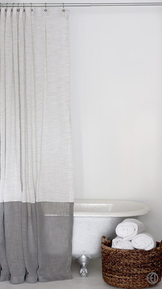 Grey And White Extra Long Fabric Shower Curtain With Large