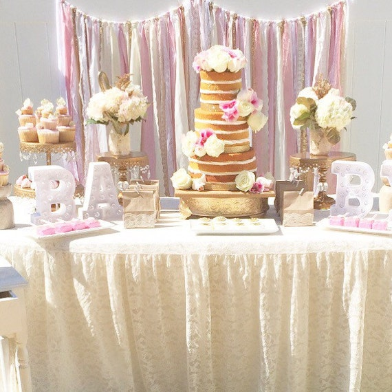 pink gold baby shower table garland backdrop event decor wedding