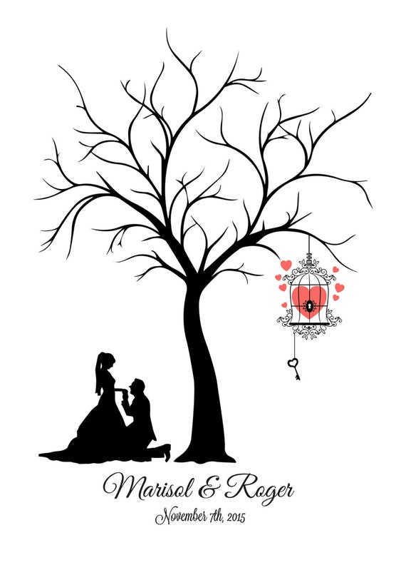 Canvas fingerprint tree wedding tree guest book template for Wedding tree guest book free template