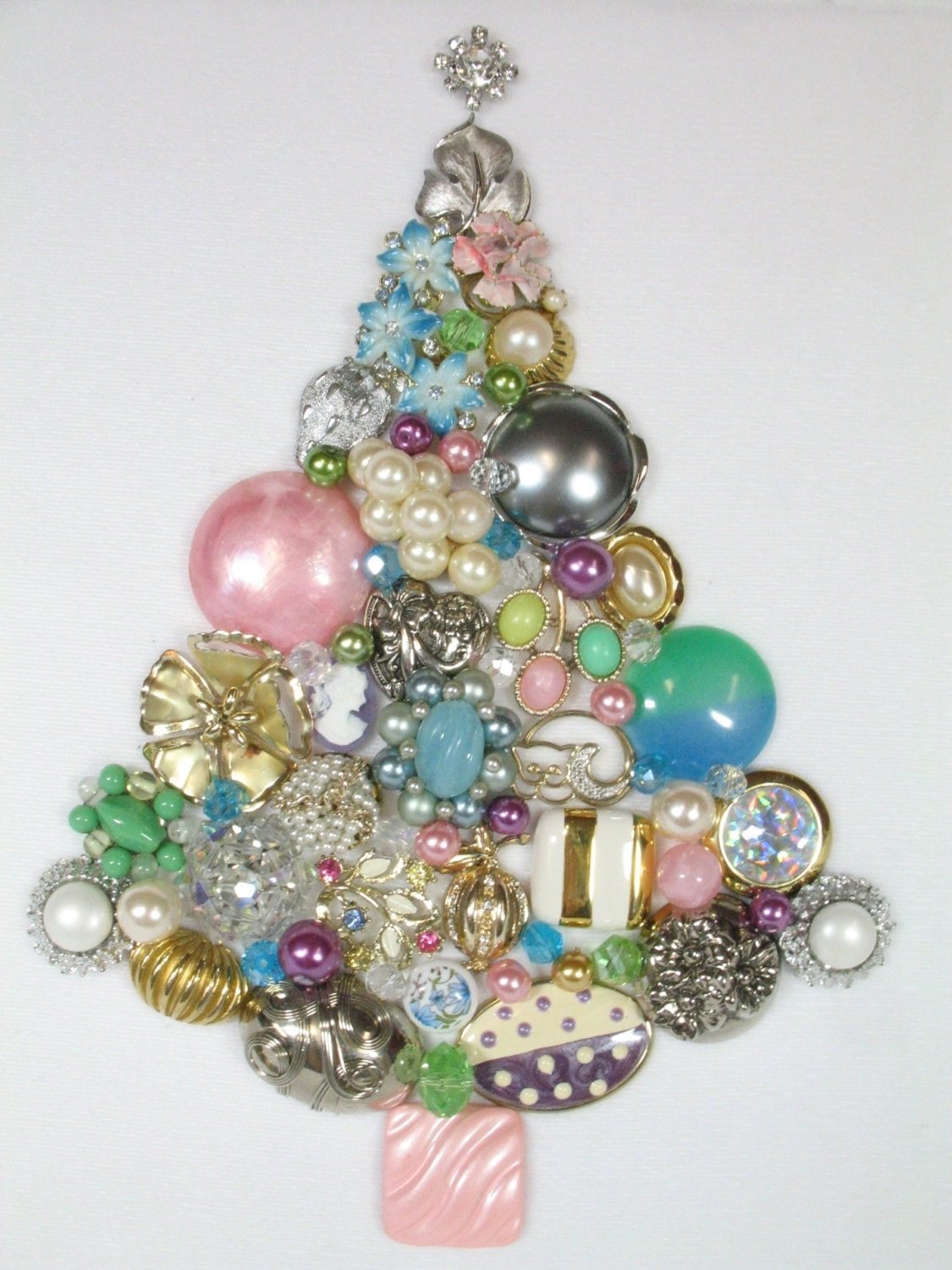 Framed Vintage Jewelry Christmas Tree Tinsel by Sunny Day
