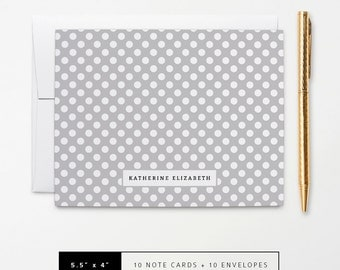 Flat or Folded Note Cards // Set of 10 // Grey & White Polka Dots with Name // Personalized Stationery // S101