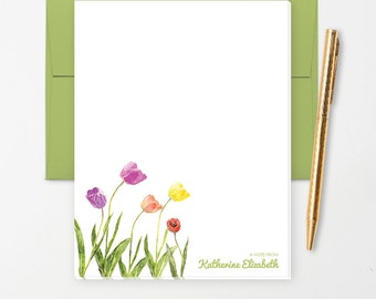 Personalized Note Pad // Watercolor Tulip Flowers // S108