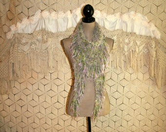 Women Hand Knit Scarf Triangle Scarf Fuzzy Fringe Hippie Boho Green Purple Unique Handmade Scarf Knit Accessories Gift for Her Womens Gift