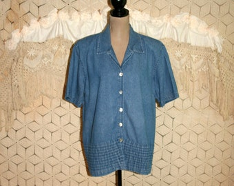 Plus Size Clothing Womens Denim Shirt Short Sleeve Tops Button Up Blouse 1X 2X Casual Size 18 Size 20 Womens Clothing
