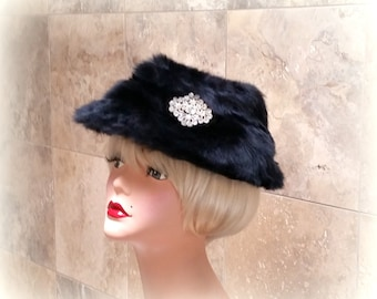 60s Black Faux Fur Hat - Huge Clear Rhinestone Accent - Beautiful Winter Hat