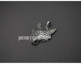 Silver Wolf Head Necklace Pendant
