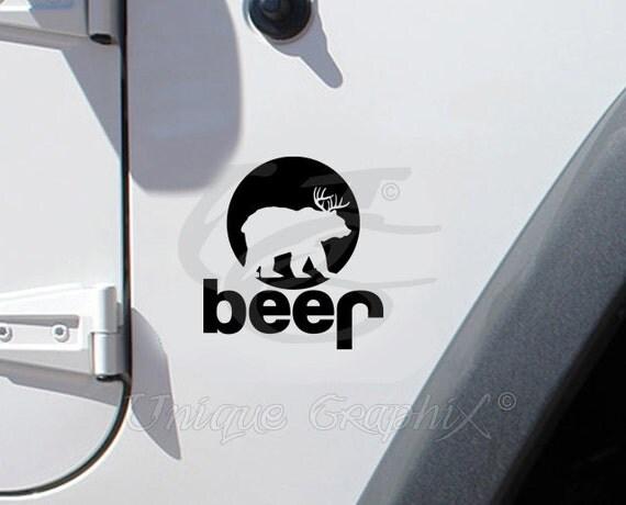 Jeep deer bear beer vinyl decal window sticker by for 1 plus 1 equals window