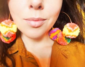 Bright Pom Pom Hoop Earrings 60s 70s style