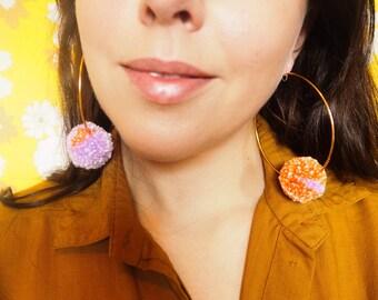 Peach and Lilac Pom Pom Hoop Earrings
