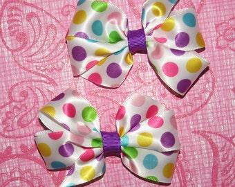Set of Rainbow Polka Dot Easter Spring Bows