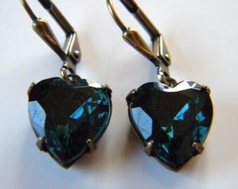 Vintage Blue Zircon Glass Heart Earrings Glass Heart Earrings Vintage Romance Bridal Something Blue