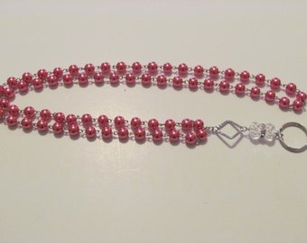 255 - Pretty Pink and Crystal Lanyard