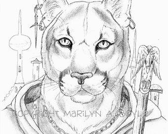 PRINT - DRAWING - FANTASY;  anthro cougar, wall art,. pencil, character portrait.