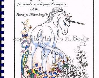 ADULT COLORING BOOKS: 10 pages, fantasy, for older children too, unicorns, for markers and ink, fairy horse, fairies, foals, and more,
