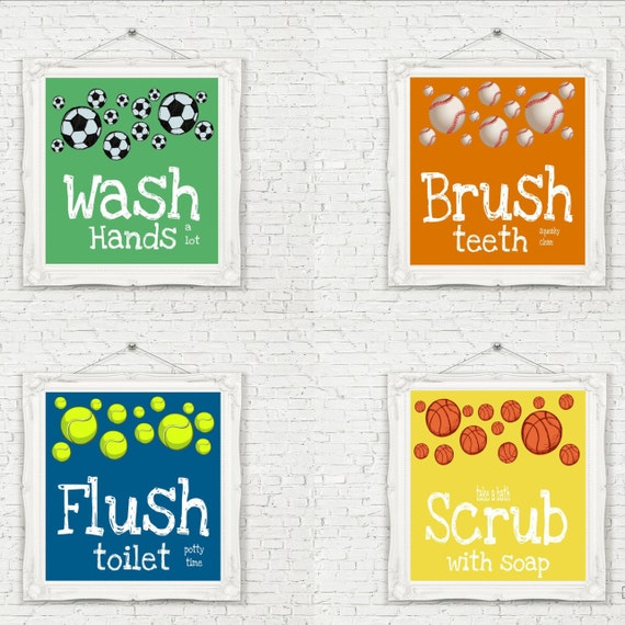 Sports theme bathroom prints set of 4 unframed by studioegifts for Sports themed bathroom decor