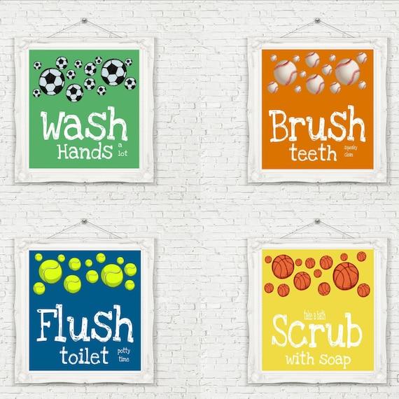 Sports theme bathroom prints set of 4 unframed by studioegifts for Sports themed bathroom decor