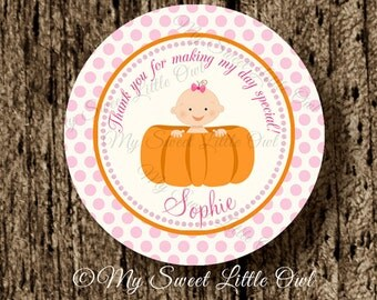 Pumpkin Cupcake Topper - pumpkin Baby Shower - pumpkin girl sticker - pumpkin party favor tag -pumpkin birthday. pumpkin printable