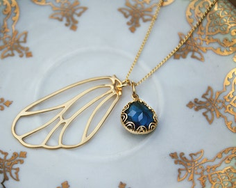 Fairy necklace with blue stone