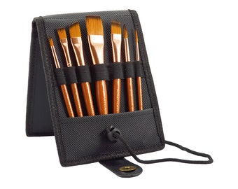 Paint Brush Set - 7 Travel Brushes for Acrylic, Oil, Watercolor- Short Handle - Professional Artist Carry Case - by MyArtscape™
