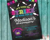Bowling Birthday Invitation. Bowling Birthday Party Invitation. Girl Bowling Invitation. Bowling Party Invitation