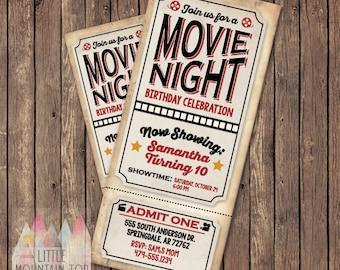 Movie Night Invitation Ticket - Movie Birthday Invitation - Printable Invitation