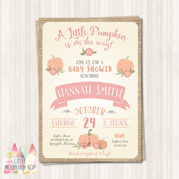 baby shower invitation fall baby shower pink pumpkin baby shower