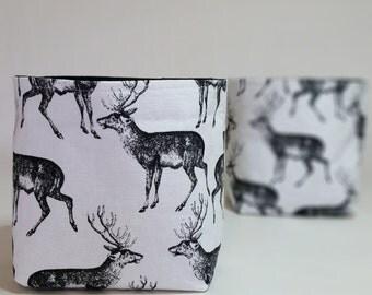 Fabric Storage Bins - Black & Ivory, Stags, Deer