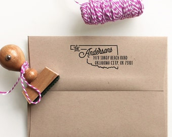 Custom Oklahoma State Return Address Stamp, perfect gift for holidays, housewarming parties and weddings or as Business Card