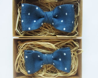 Father and son bow tie set, Linen bow tie, Linen bow tie, Polka dot bow tie, Pretied bow tie, Toddler bow tie, Bow tie for boy