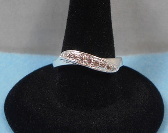 Silver Plated CZ Twist Band (Size 7)