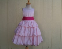 Girls Pink Tea Length Satin Dress w Hot Pink Sash Size 4 & 6,3 Tiered Layered Satin,Flower Girl,Sunday Best,Wedding, Pageant, Portrait