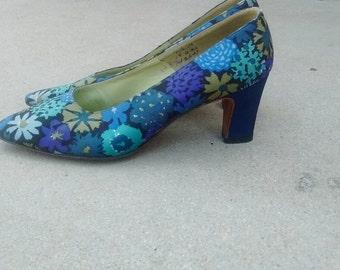 Vintage Floral Silk Fabric Heels
