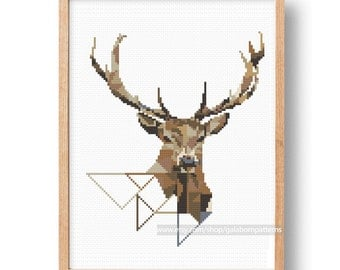 Modern Deer Cross Stitch Pattern cross stitch Deer Antlers cross stitch Stag Antlers cross stitch pattern Geometric deer Modern cross stitch